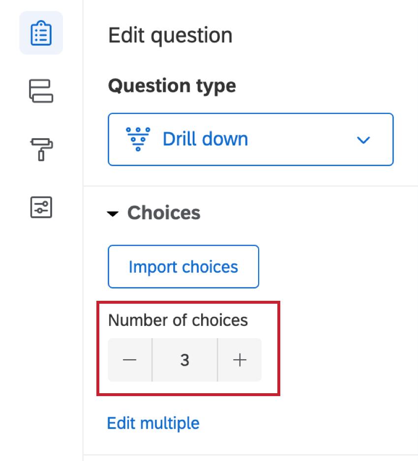 Dans le volet édition des questions, les choix sont définis sur un nombre de 3