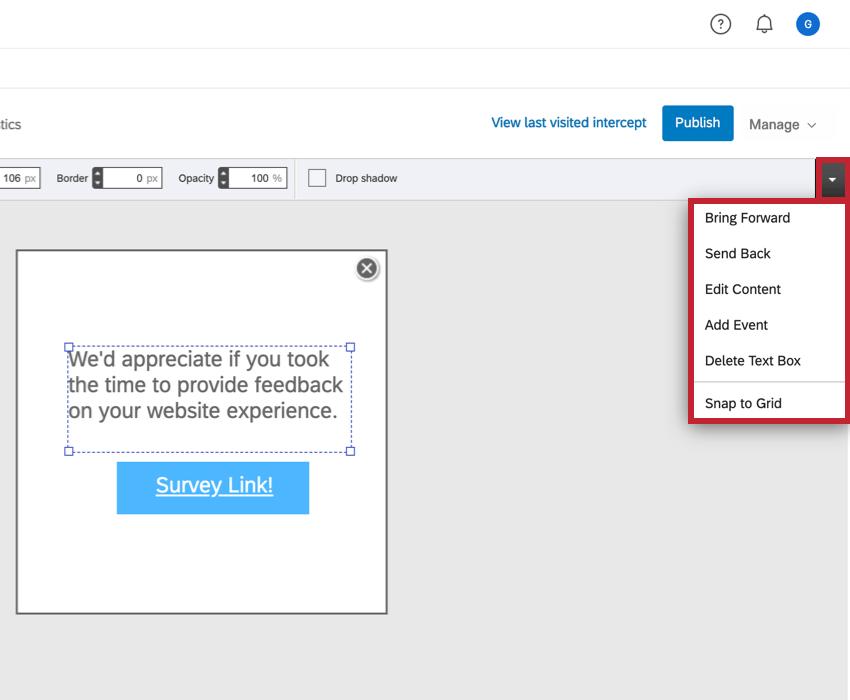 Additional options drop down menu