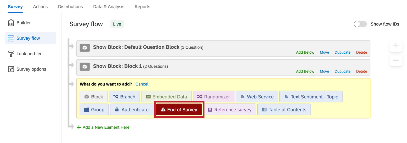 End of Survey button in What do you want to add menu