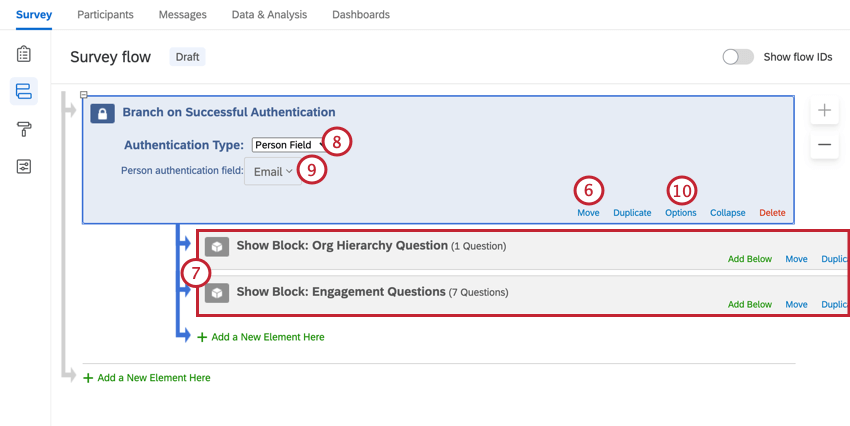 selecting the person field and moving the authenticator to the top of the survey flow, with all other elements nested under it