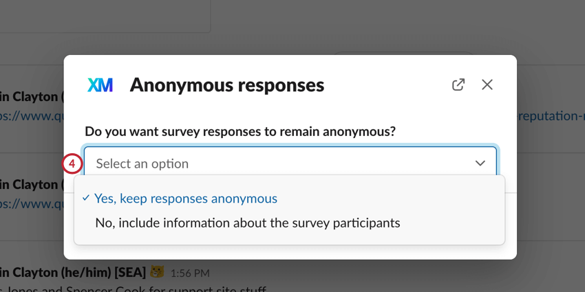 choosing if responses should be anonymous or not