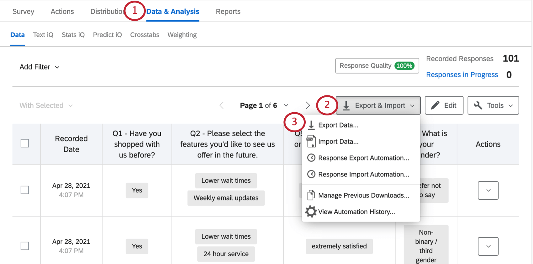 Export Import button on far-right of Data & Analysis tab