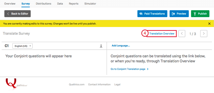 in the translation window, clicking translation overview