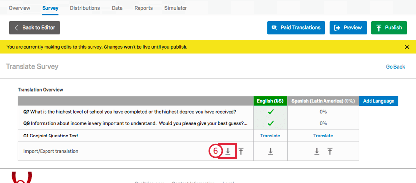 clicking the download button in the translation window