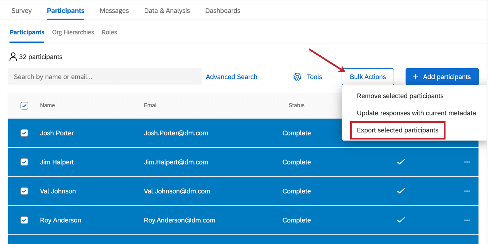 Image of selected participants and bulk actions button