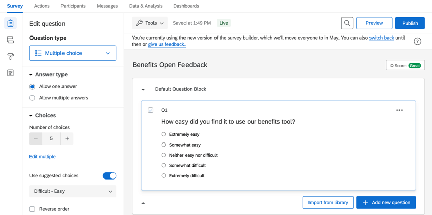 the survey builder with questions in it to collect employee feedback