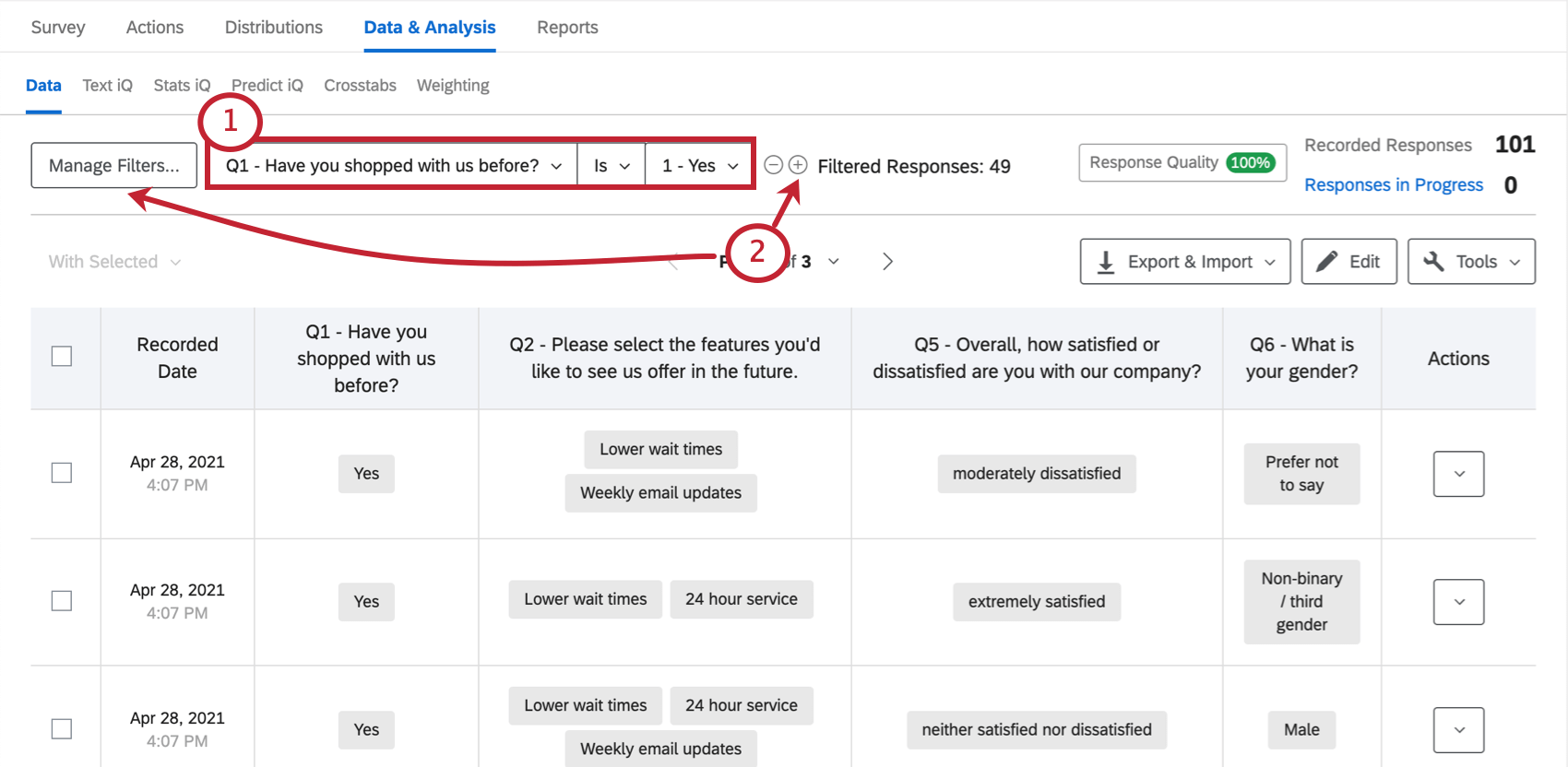 Manage Filters button, current filter, and the plus button to add filter condition