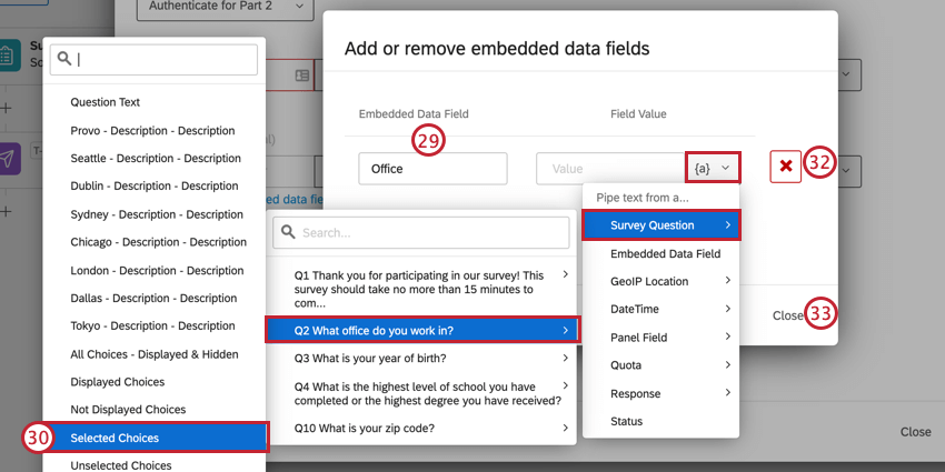 adding an embedded data field, and using the piped text menu to select the corresponding survey question