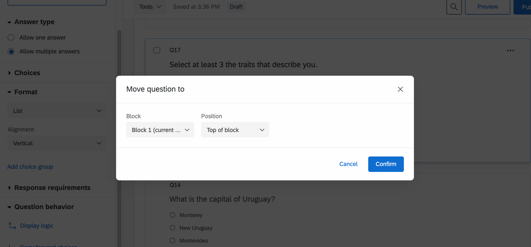 Window that opens when you decide to move a question - fields for selecting a block and how to move the question
