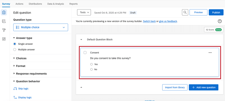 Question highlighted in the survey builder
