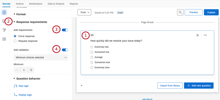 Adding validation to a question