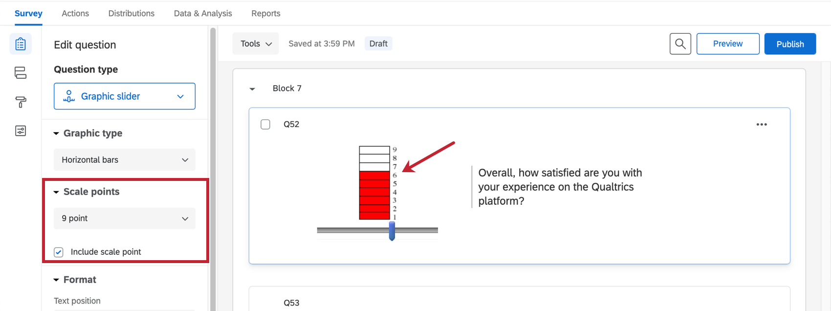 Bar slider set to a scale of 9, filled in red to the sixth block