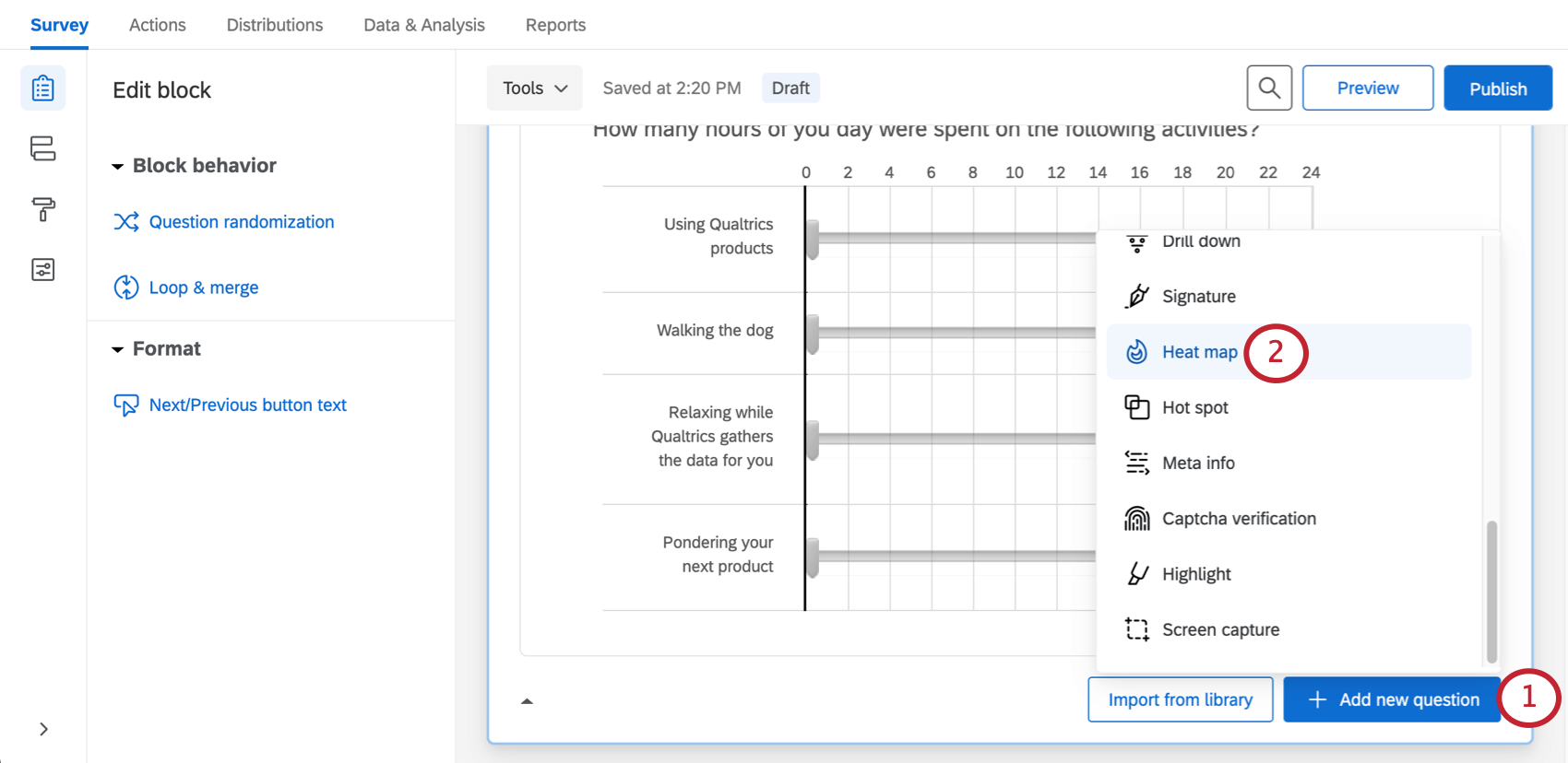 Add new question button bottom-right block, menu with question types opens from it