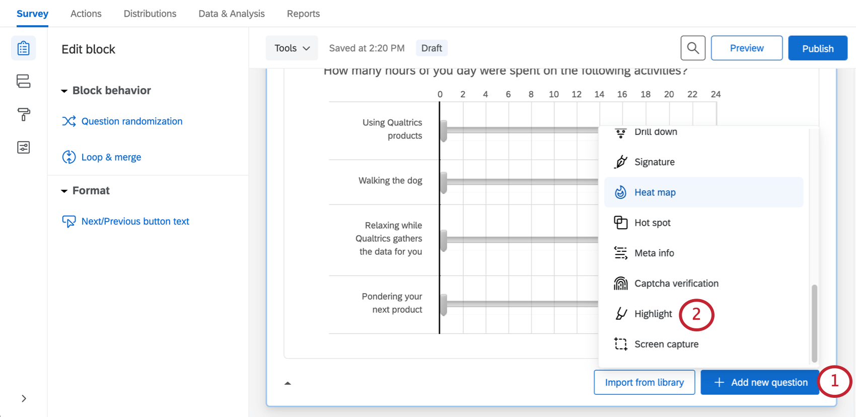 Question types dropdown beside the add new question button