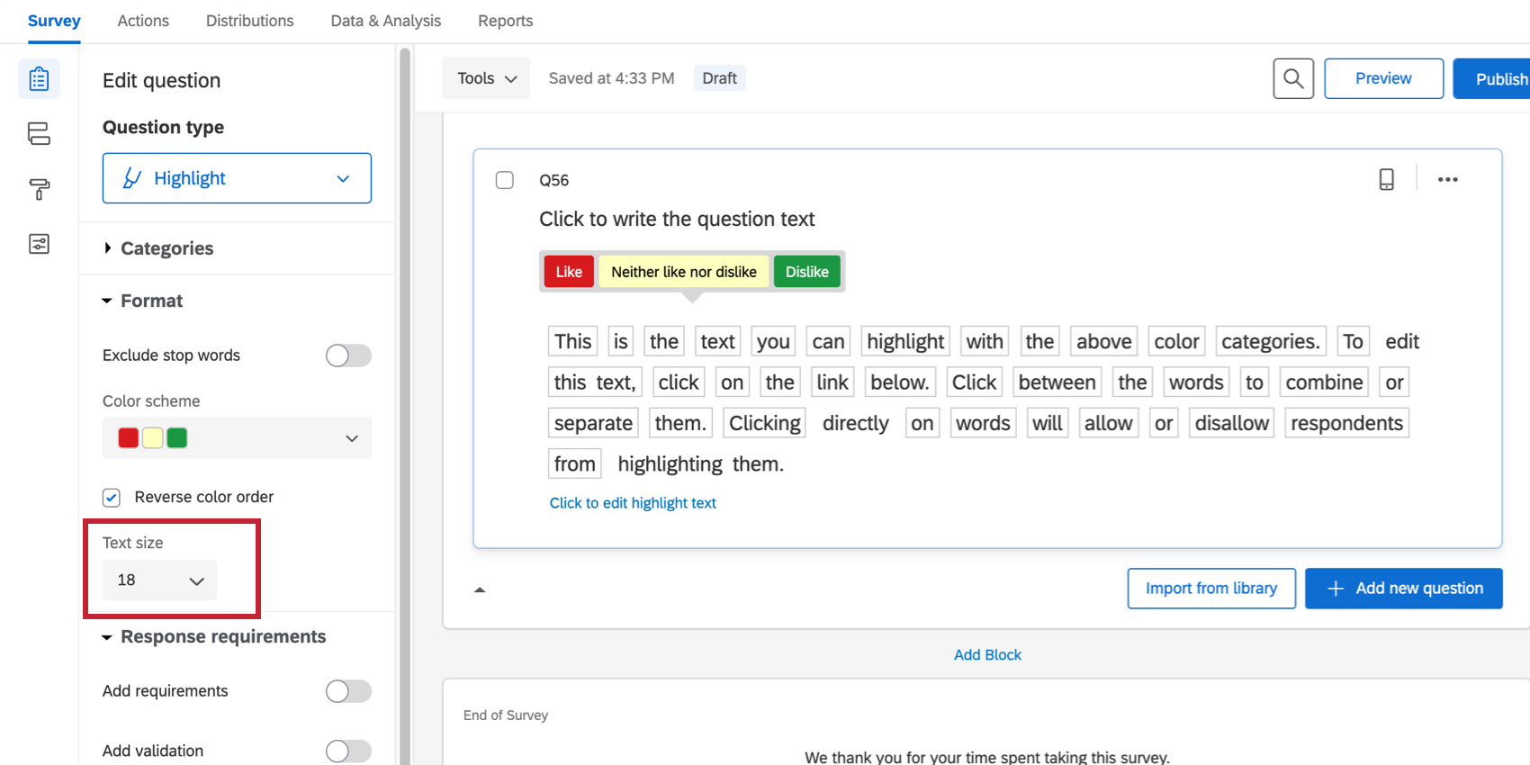 Text size is selected and adjusted