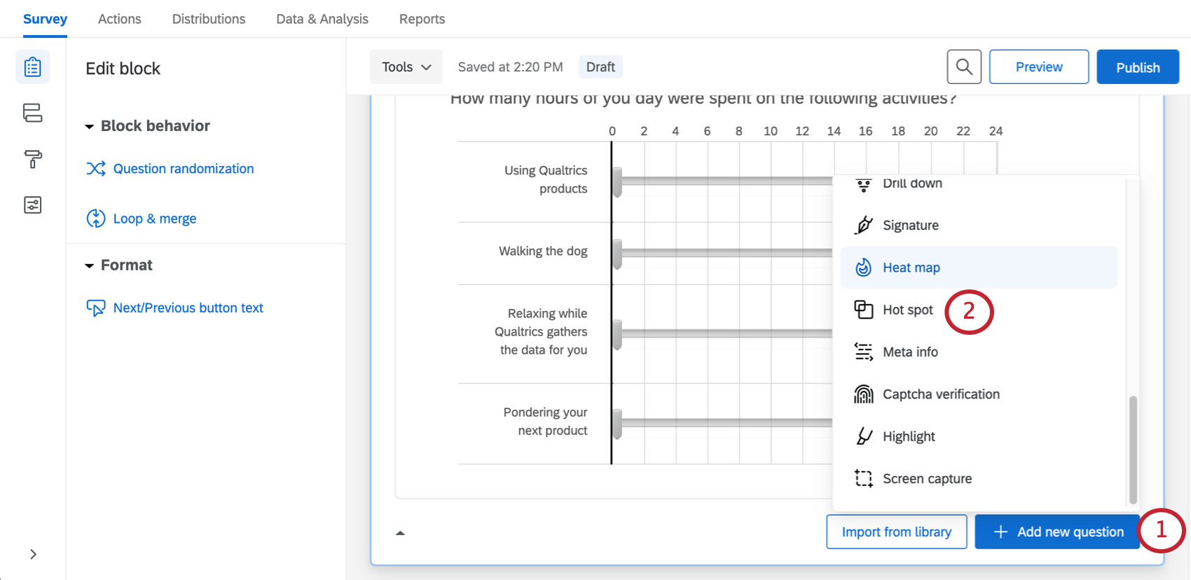 Blue add new button bottom-right of block, once clicked has menu with question types listed