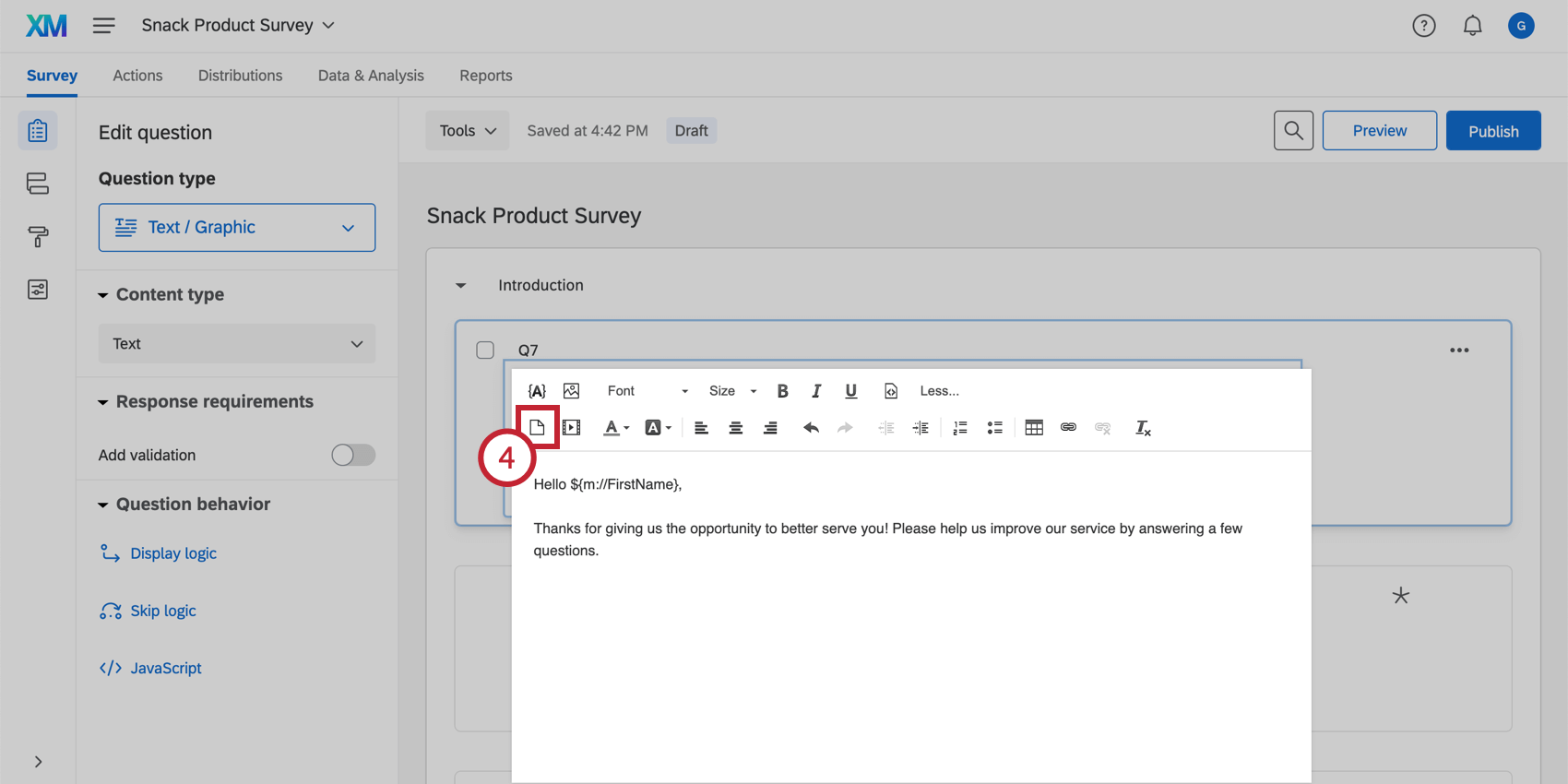 Insert File option in the rich content editor