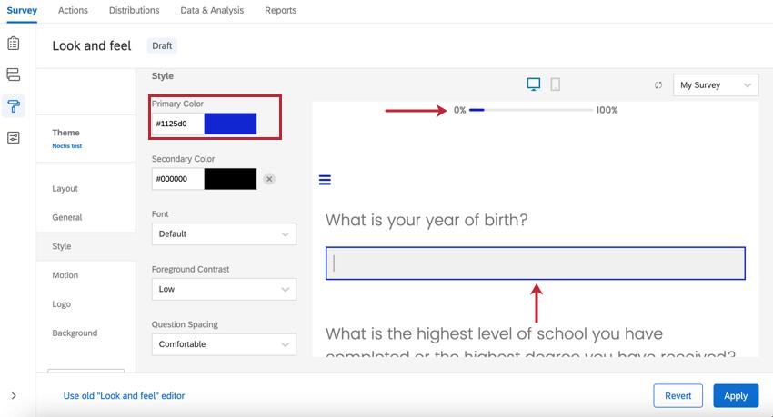 l'option de couleur primaire dans Apparence. la barre de progression et la mise en surbrillance des questions sont affectées par cette option