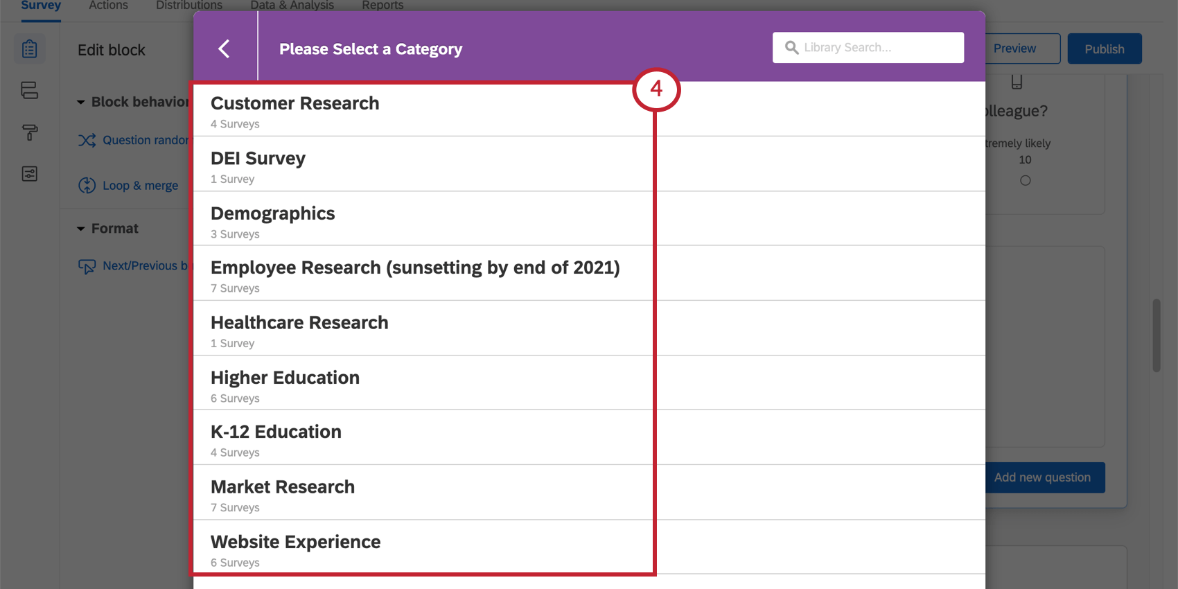 Arrows indicating all the choices on the Please Select a Category window