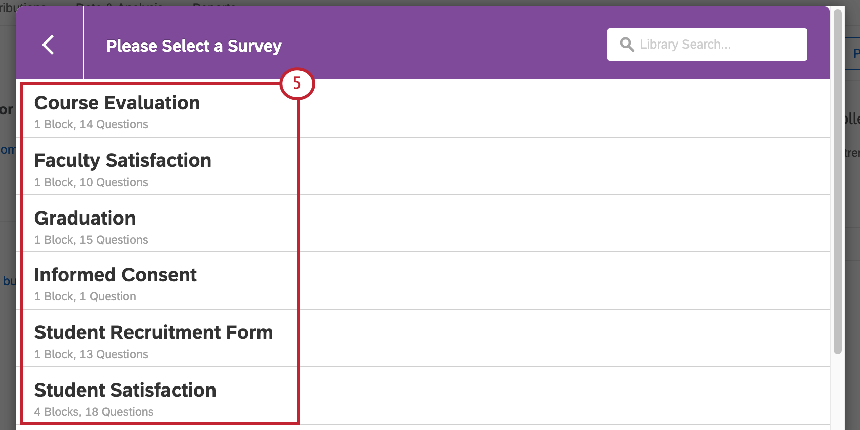 Arrows indicating all the choices on the Please Select a Survey window