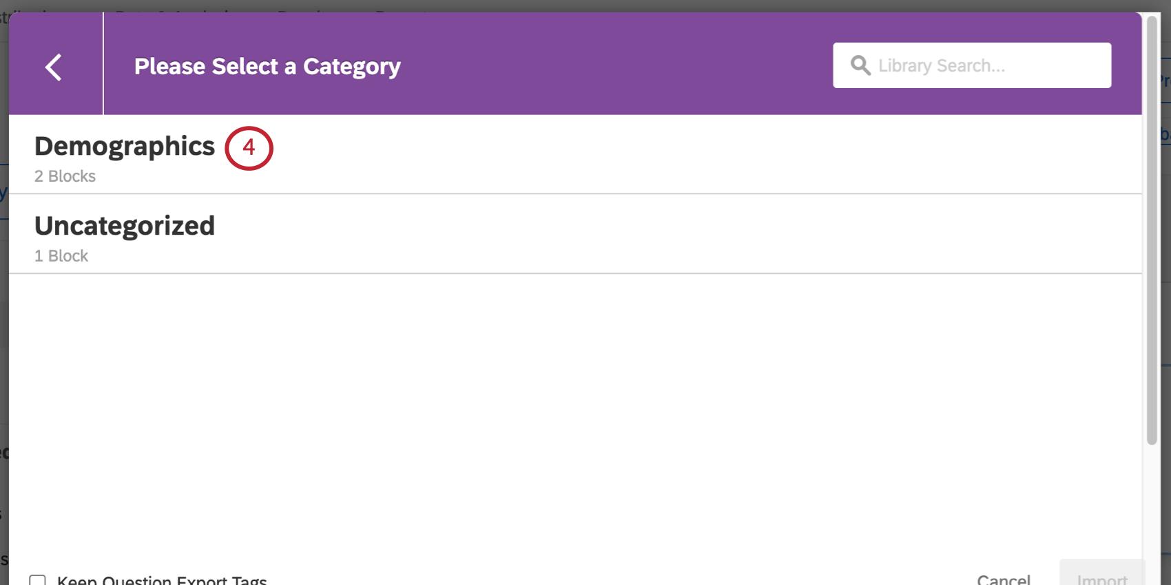 selecting the demographics block