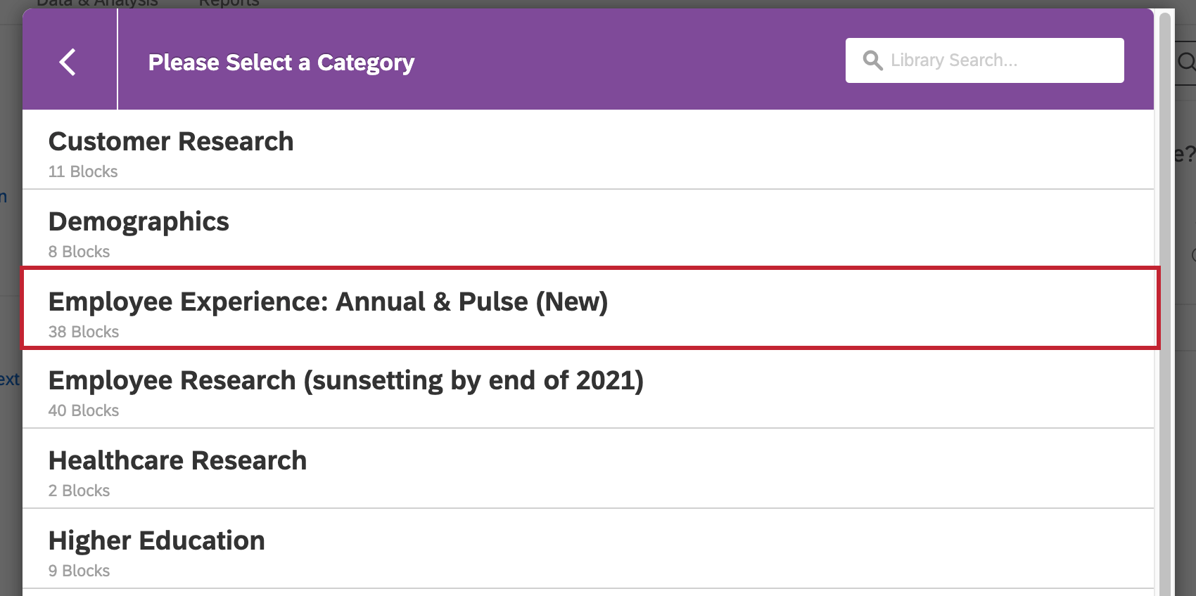 The library import screen. The employee experience: annual & pulse (new) option is selected