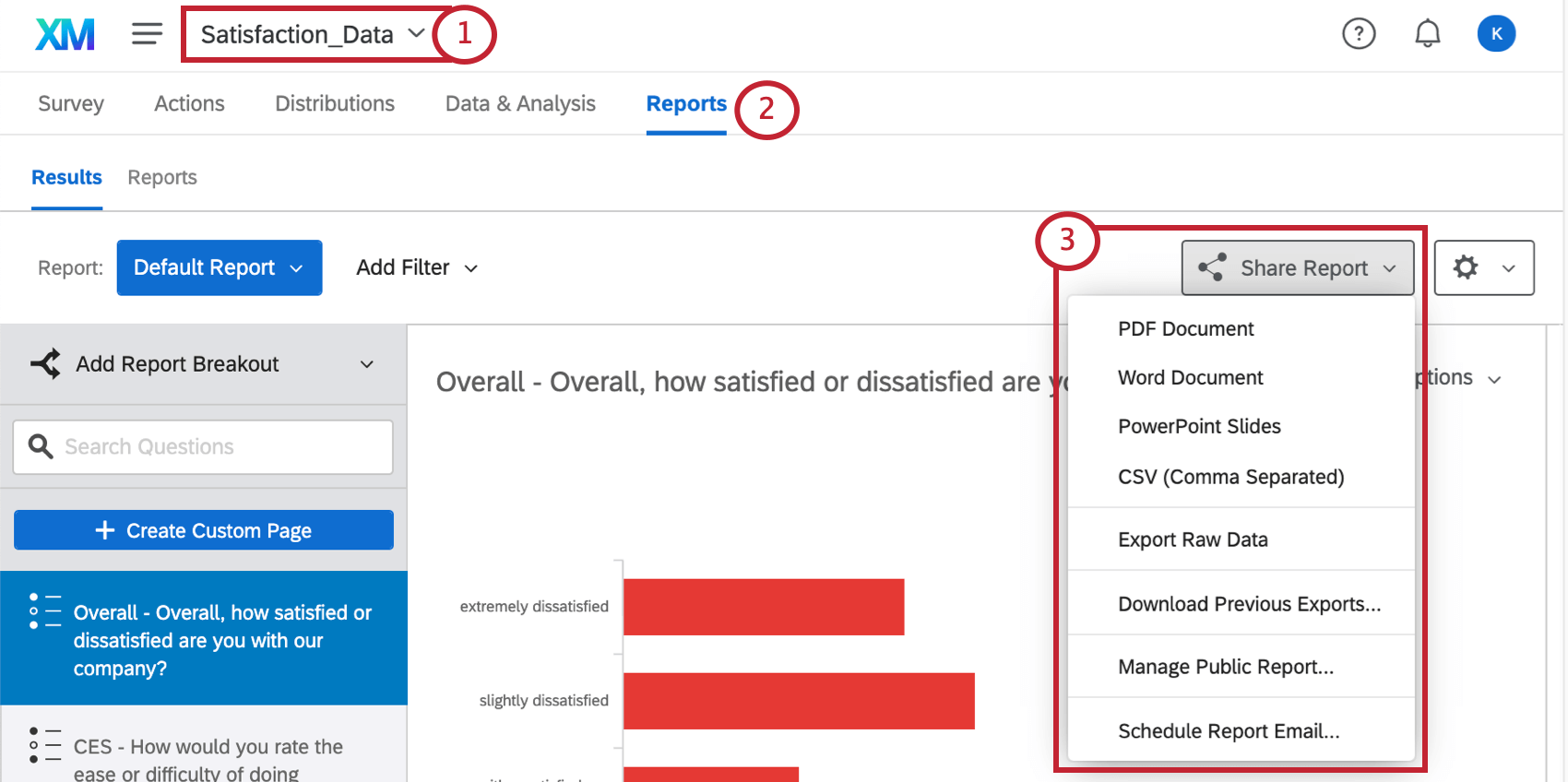 The reports tab is open. The topmost name of the survey lets you navigate between surveys. Being inside Reports brings you immediately to the results section, where theres a share button on the right under which is a manage public report option