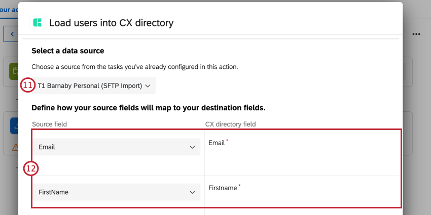 choosing the import task, and them mapping fields