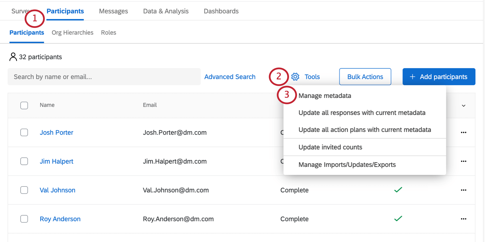 Tools button on Participants tab expanded to reveal Manage Metadata option