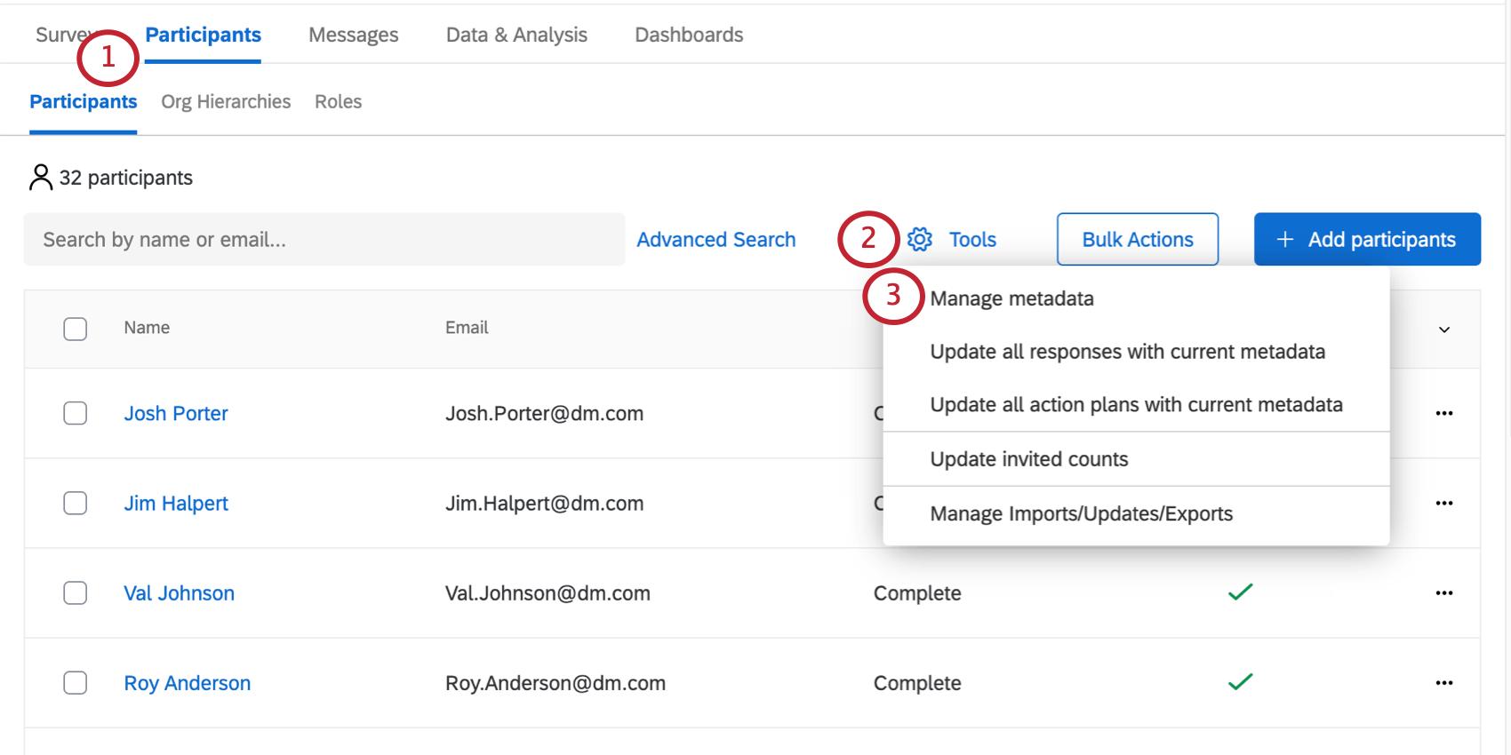 [参加者]タブの[ツール]ボタンが展開され、[メタデータを管理]オプションが表示される