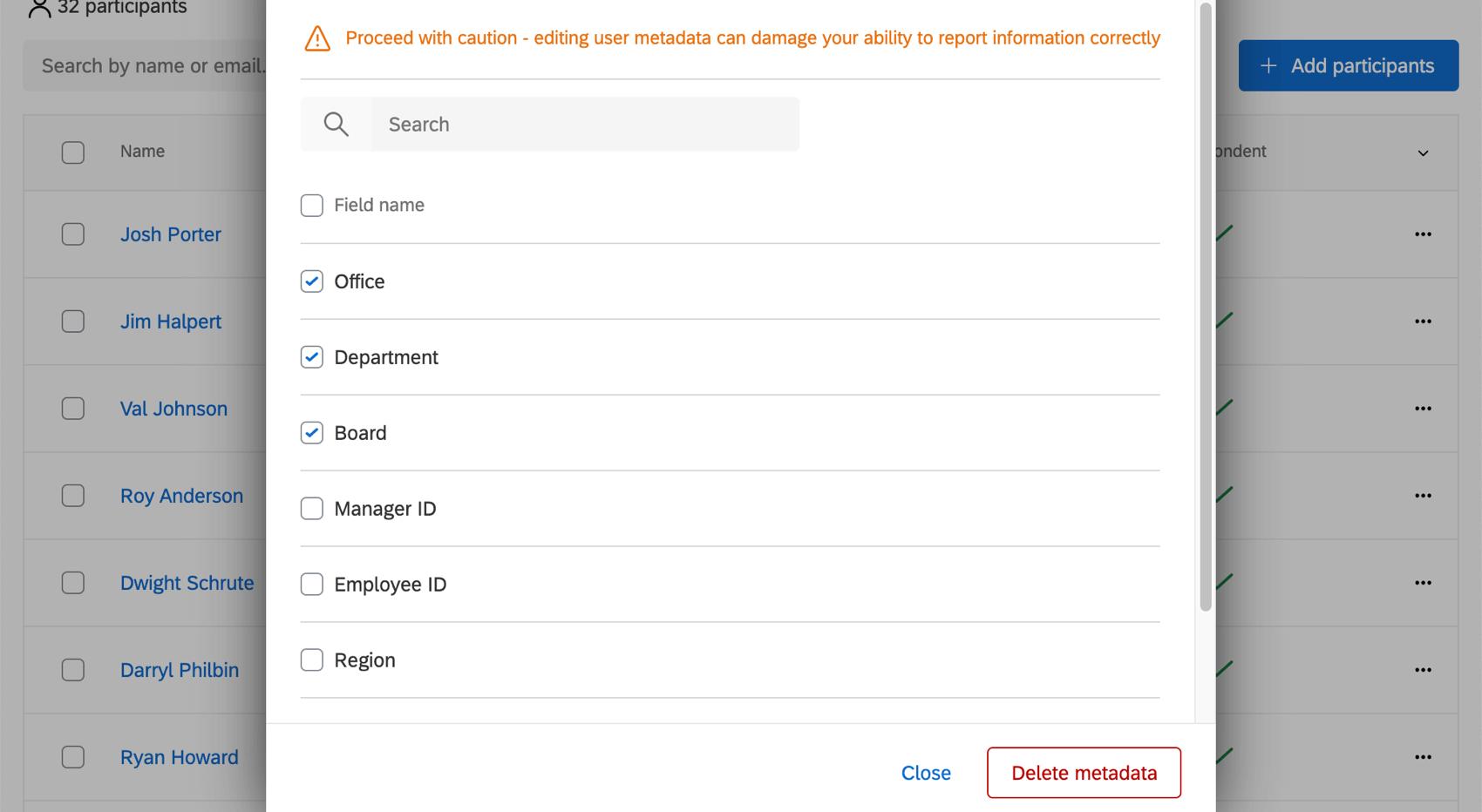 Selected metadata