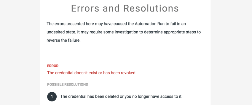 Image of an example of a failed run email with suggestions of how to resolve the failure