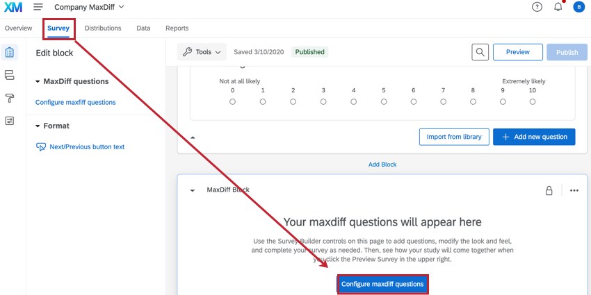 the survey tab of a maxdiff project. the configure maxdiff questions button is highlighted