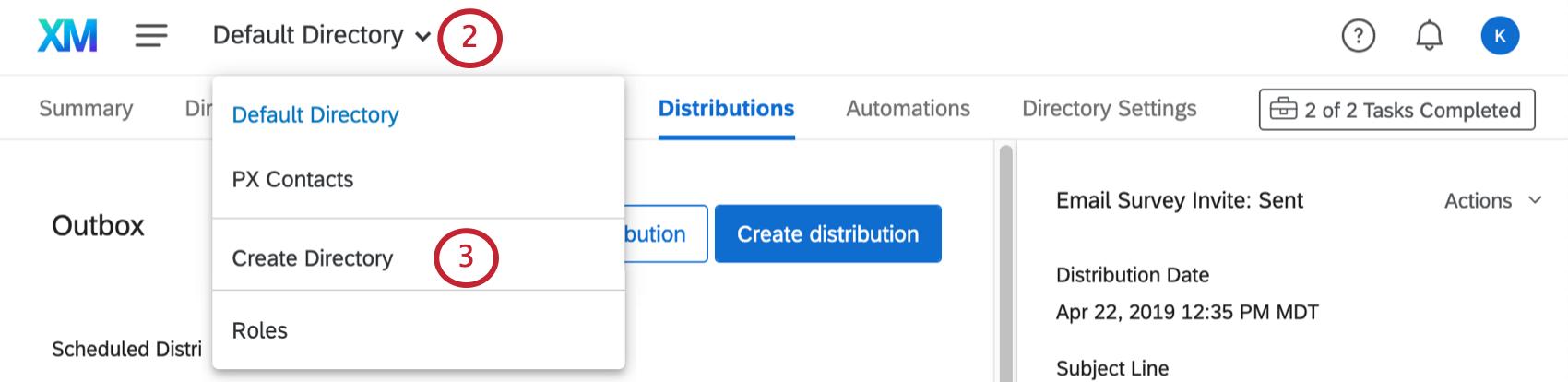 Cliquer sur la barre d'outils en haut à gauche et sélectionner la dernière option, Créer un répertoire en bleu