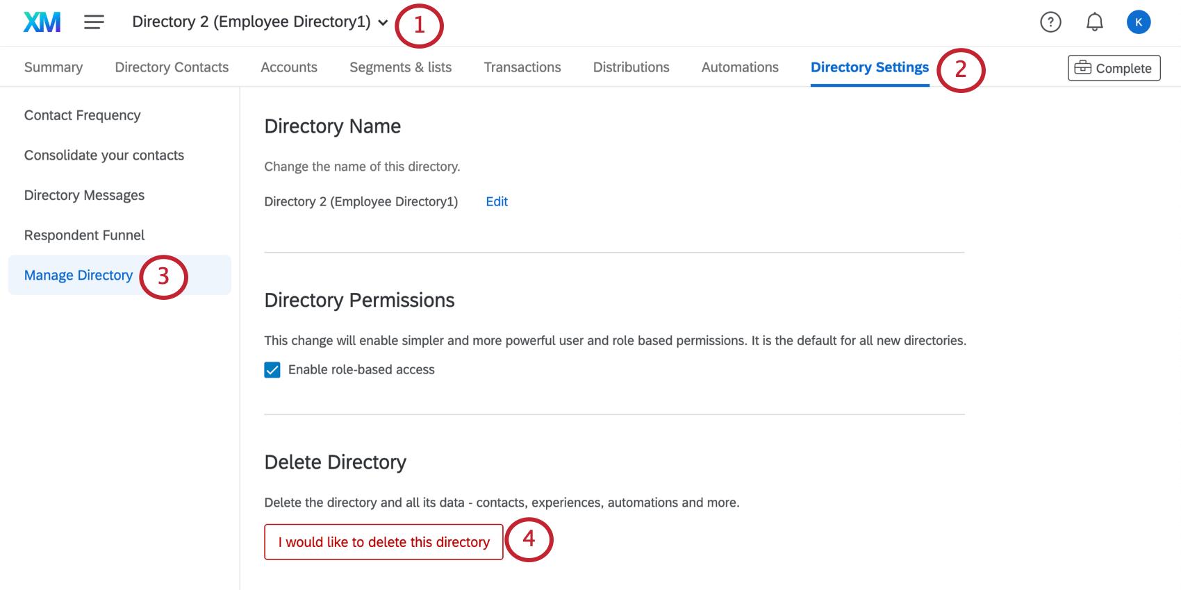 Image de la page des paramètres de répertoire avec le répertoire de gestion ouvert à gauche; le bouton de suppression se trouve au bas de la page en rouge