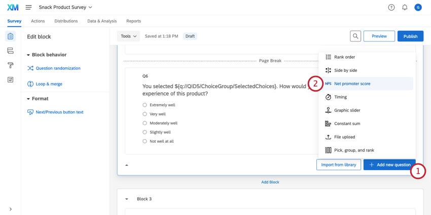 Adding a net promoter score® question with the Add new question button at the bottom right corner of a block
