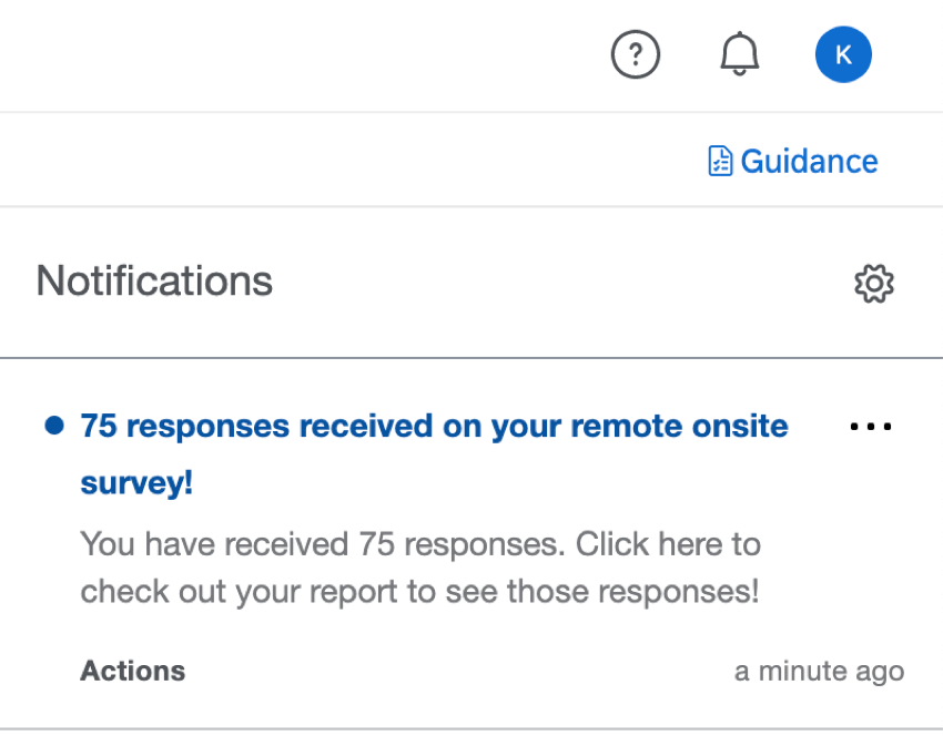 Notification in product saying how many responses were received