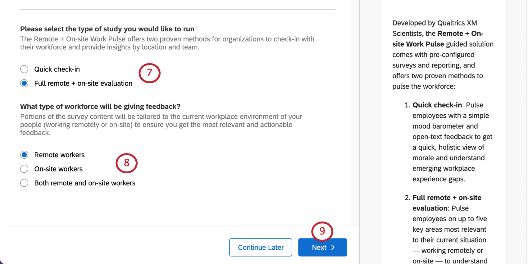 Multiple choice for assessment type. Question below that for workforce type. Next button blue, bottom-right
