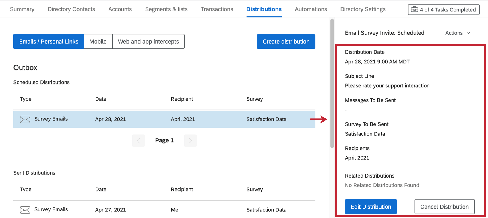 Clicking a distribution makes more information appear to the right