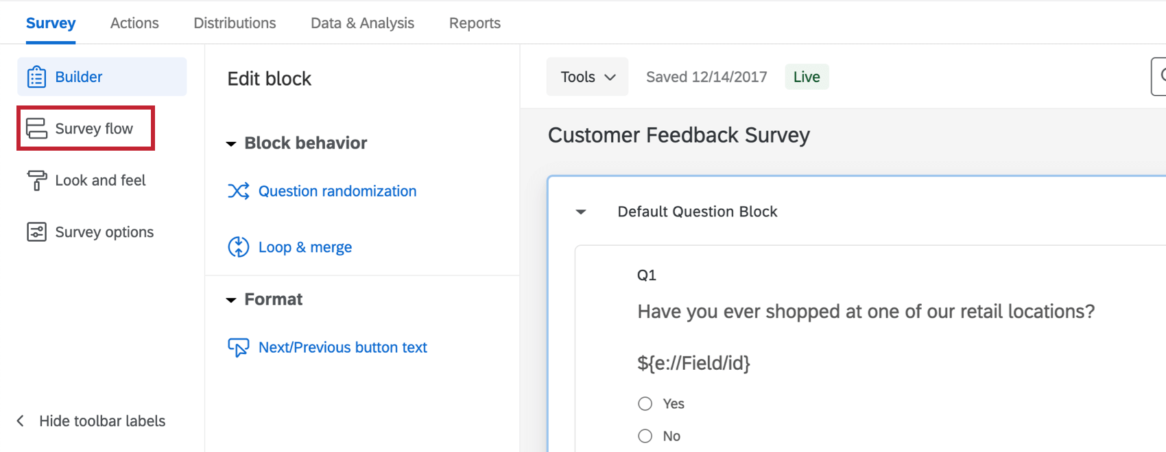 Toolbar expanded to left - survey flow button is highlighted