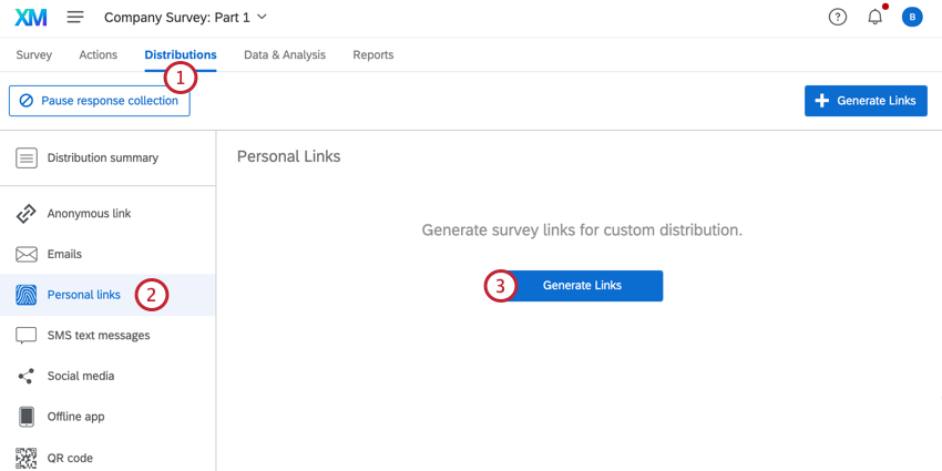 in the distributions tab, clicking personal links and then generate links