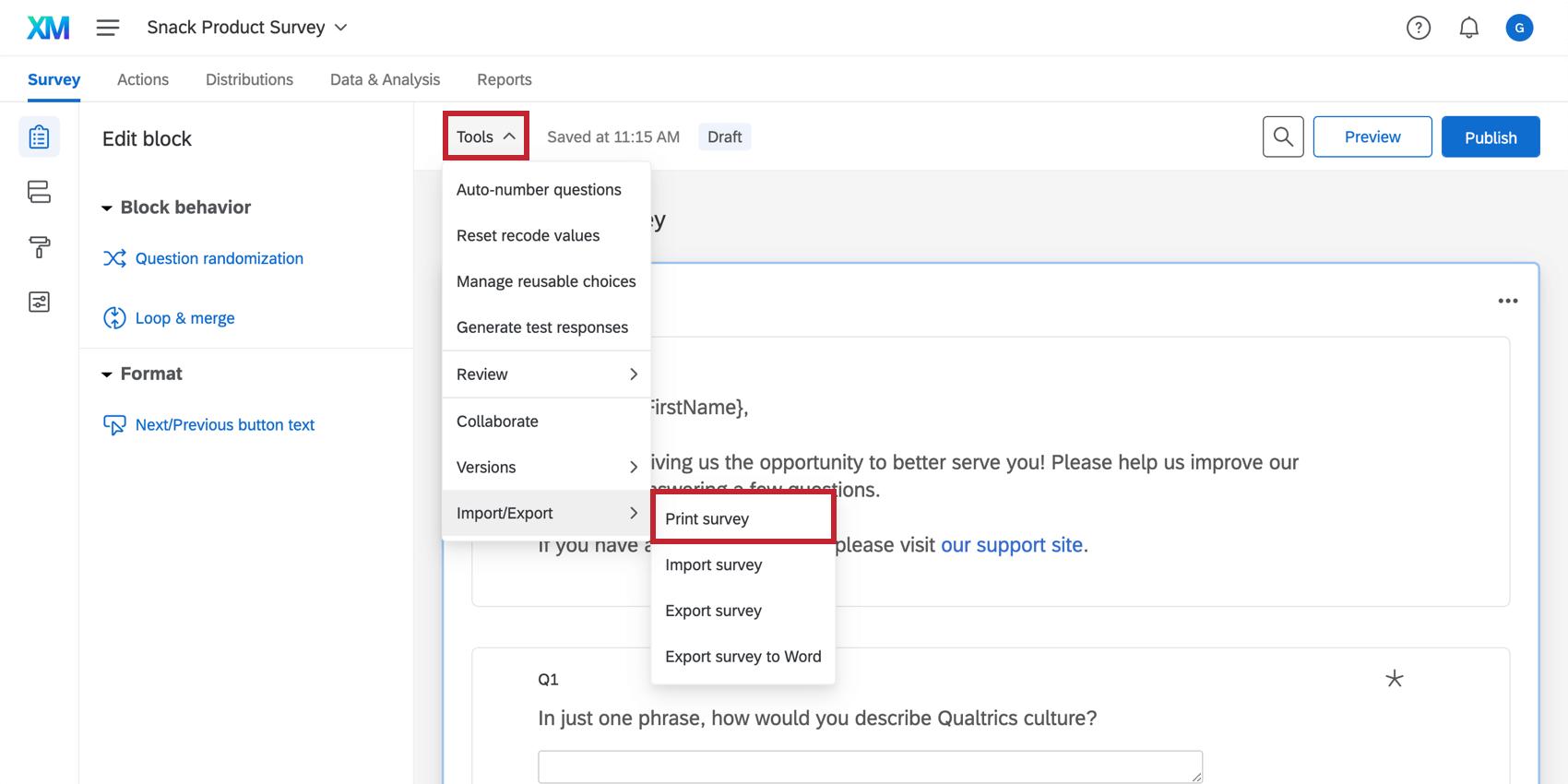 Print survey option in the Tools menu