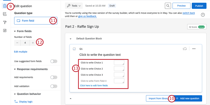 adding a form field question to capture contact information