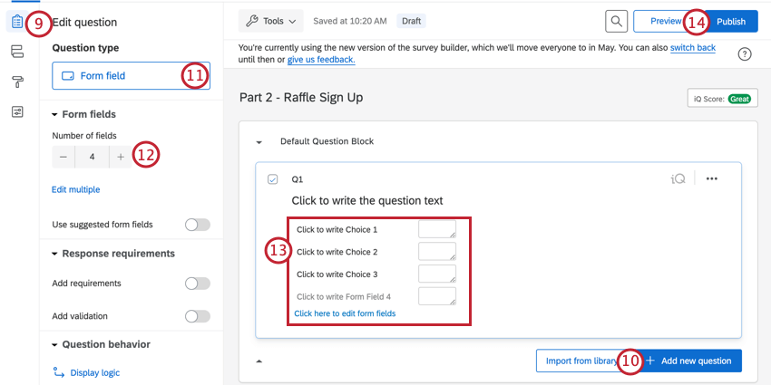 adding a form field question to capture respondent contact info