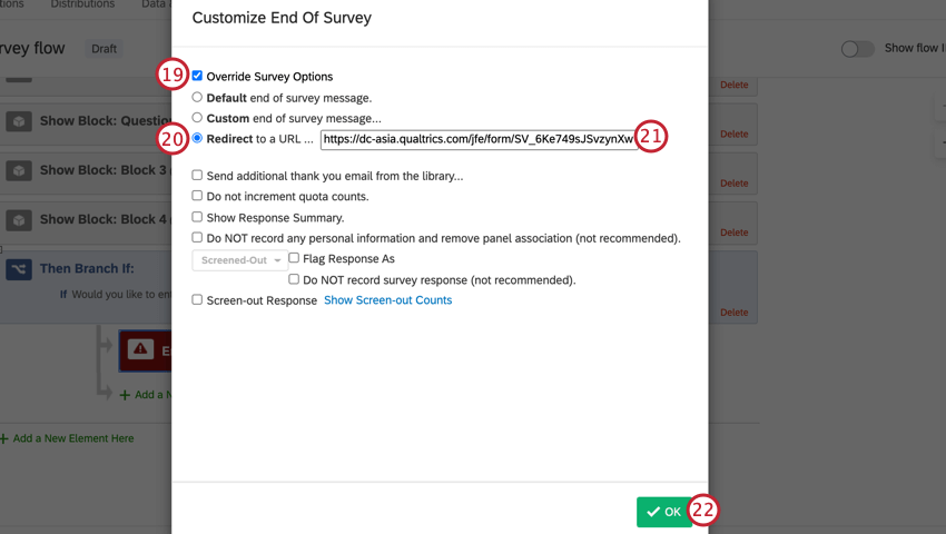 in survey options, adding a redirect url to the raffle