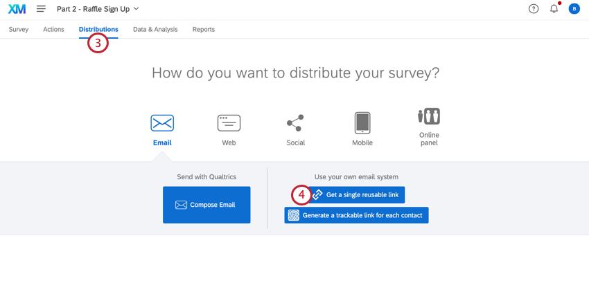 navigating to distributions and selecting get a single reusable link