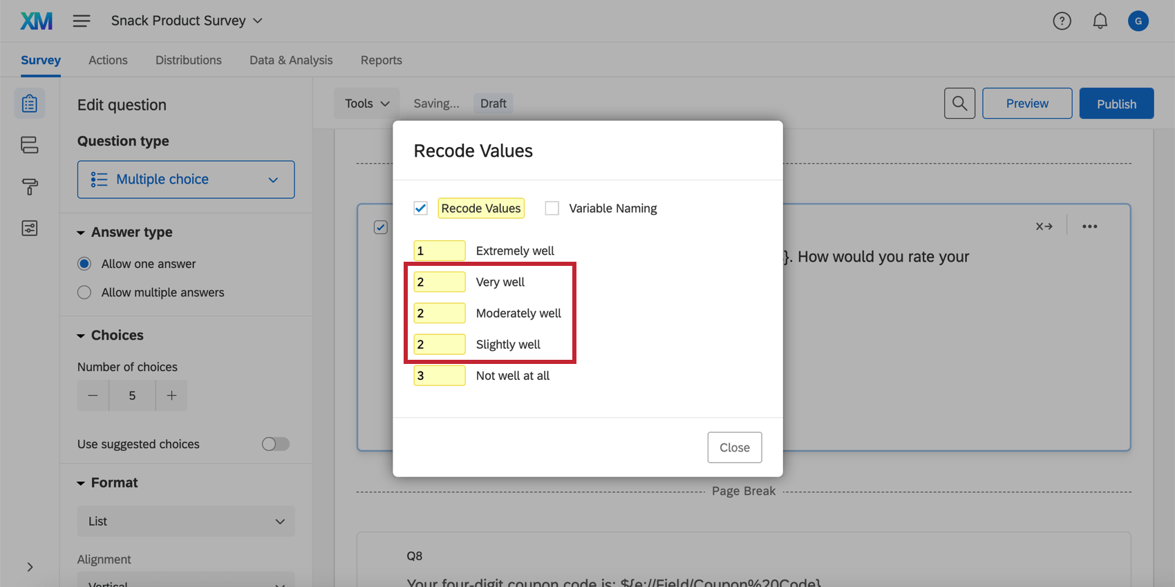Recoded values in the recode values window