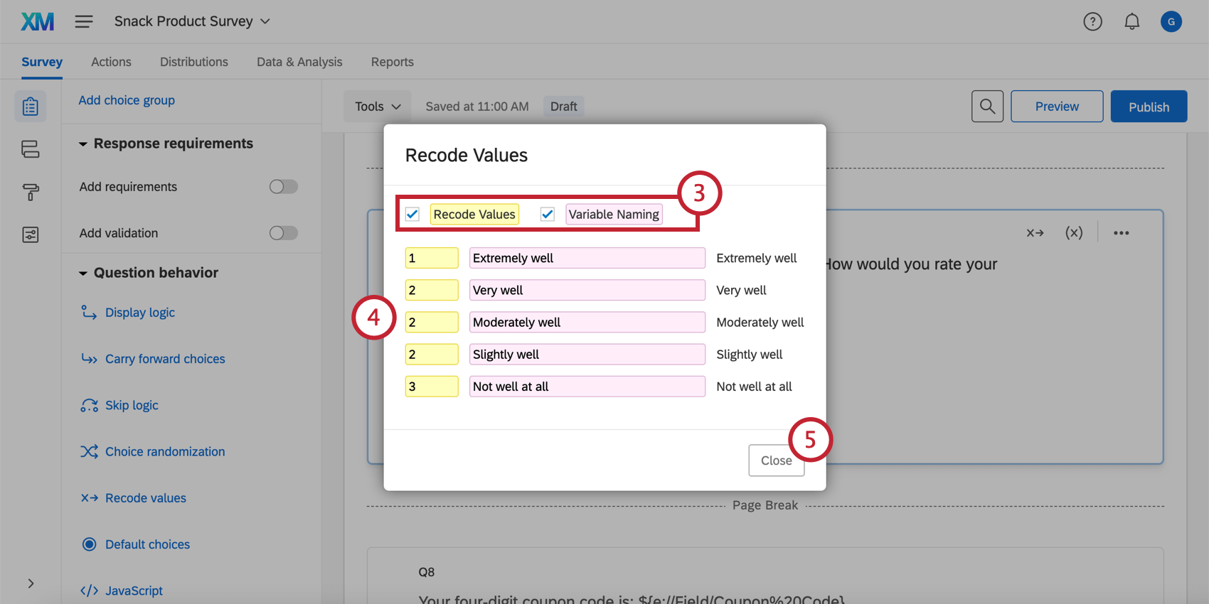 Recode Values and Variable Naming in the recode values window