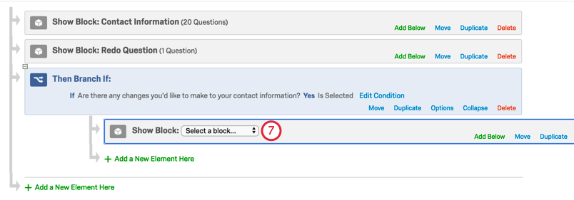 Block with dropdown indented under branch