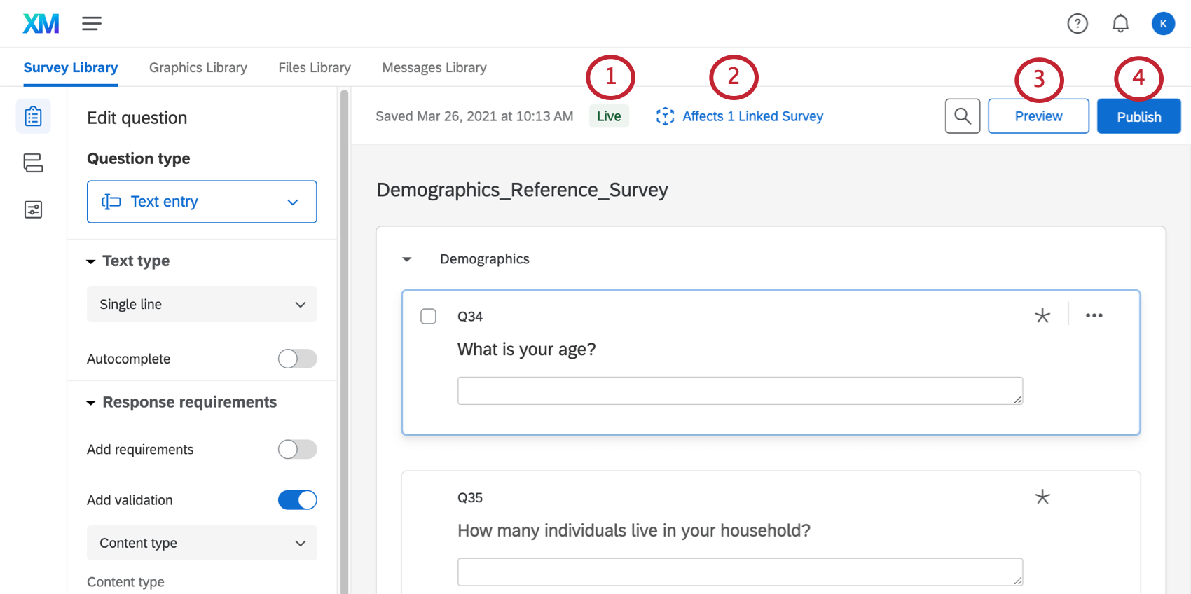 Along the top of the survey builder for a reference survey, the following buttons: